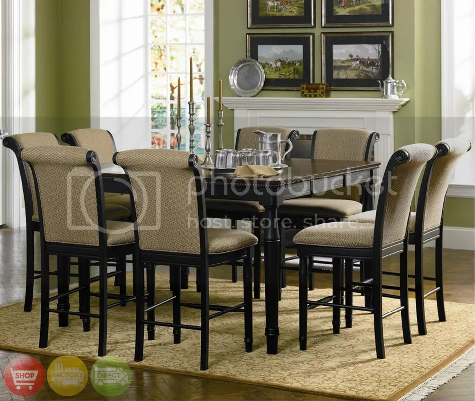 Lounche Dining Set Two Tone Counter Height Table 9 Piece Dining Room