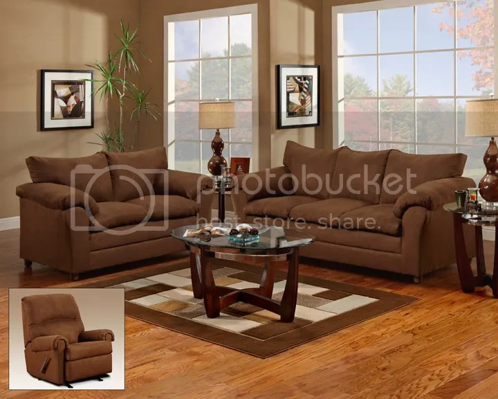 Chocolate Brown Sofa, Love Seat \ Reclining Chair 3 Piece Living - two piece living room set