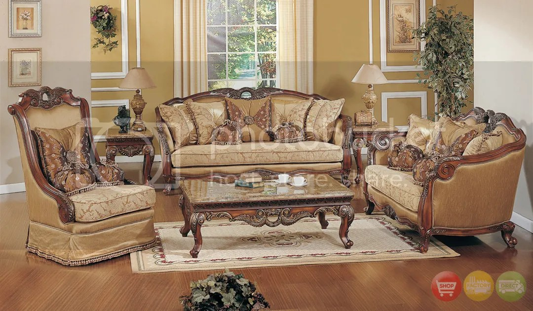 Exposed Wood Luxury Traditional Sofa \ LoveSeat Formal Living Room - living room sets for sale