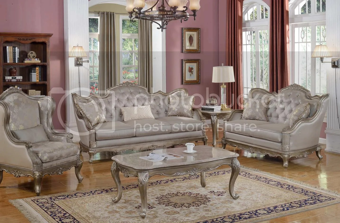 Elegant Traditional Antique Style Sofa \ LoveSeat Formal Living - formal living room chairs
