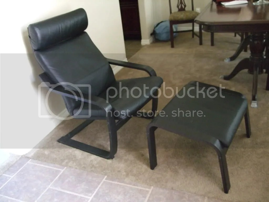 Black Leather Chairs Ikea Ikea Black Leather Poang Chair And Footstool Photo By