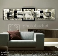 Large Modern Abstract Aluminum Metal Wall Art Decor Silver ...