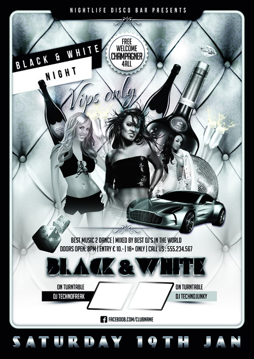 Black and White Disco Nightlife Flyer Template PSD - All Design - black and white flyer template