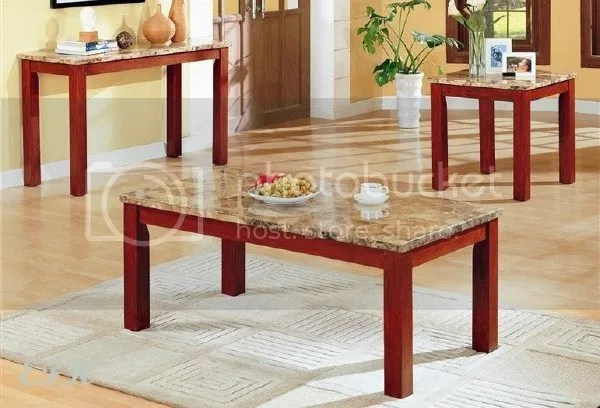 2pc Marble Top Light Cherry Wood Coffee End Table Set Ebay