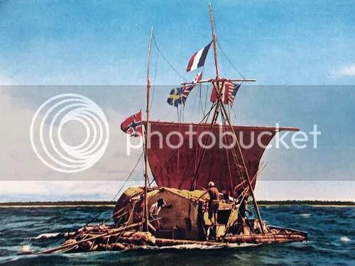 Painting of the Kon-Tiki raft
