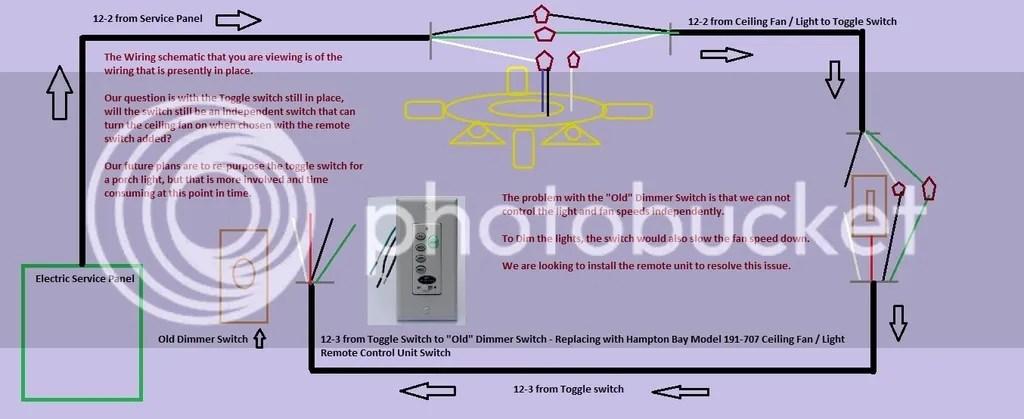 Universal remote ceiling fan/light installation diagram
