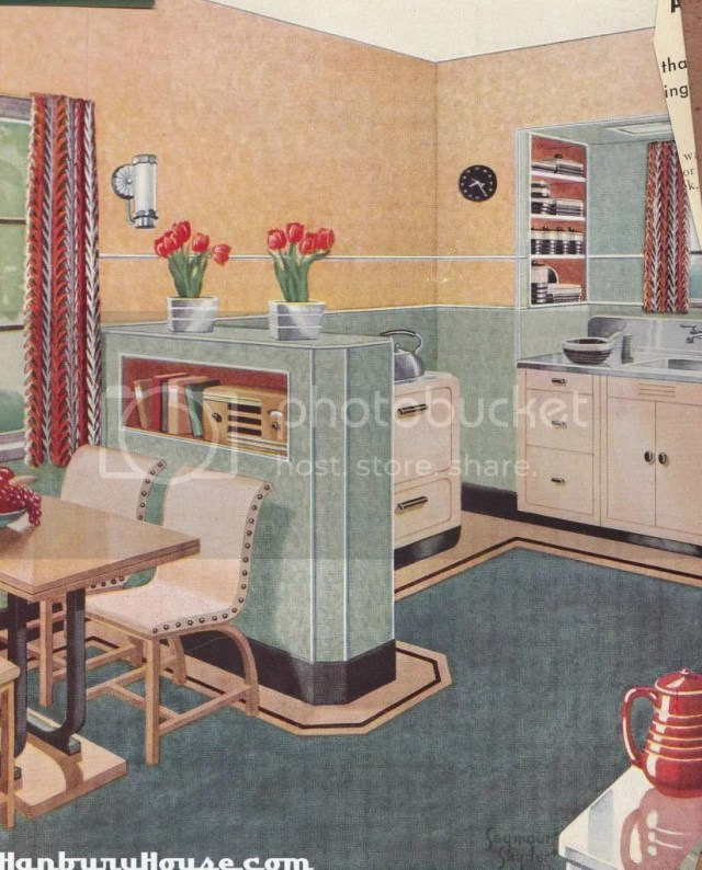 kitchensgreenpeachy 1 Retro Kitchen Images From The 1940s and 1950s Scrapbook