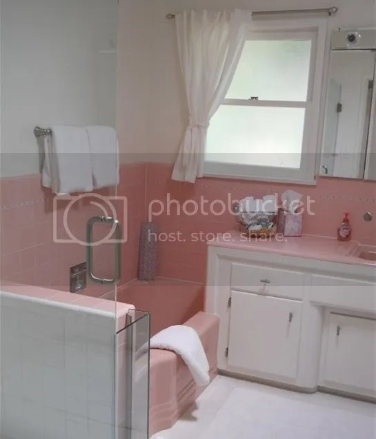 retro tile pink and white bathroom from 1950's