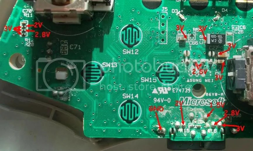 Xbox 360 controller power points/How to wire LEDs to them