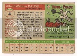 1955 Topps Al Kaline #4 Back