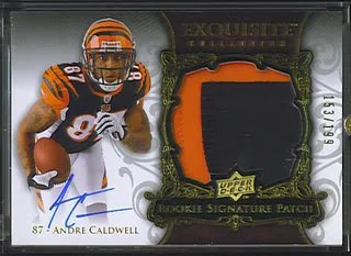 Andre Caldwell 2008 UD Upper Deck Exquisite Football RC Patch Auto