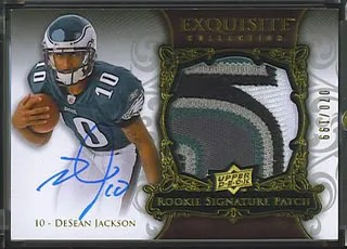 2008 Desean Jackson Exquisite Patch Auto Rookie 5 Clr Color /199