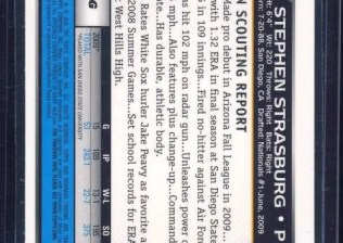 2010 Bowman Stephen Strasburg Superfractor 1/1 Back
