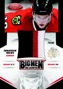 2010/11 Panini Certified Jonathan Toews Big Man On Campus Jersey Card