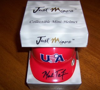 2009 Just Minors USA Mark Teixeira Mini Helmet Autograph