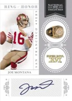 2010 Panini National Treasures Ring of Honor Joe Montana Autoraph Card