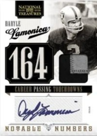 2010 Panini National Treasures Daryle Lamonica Patch Jersey Autograph Notable Numbers Insert Card