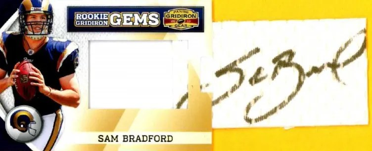 2010 Panini Gridiron Gear RC Hidden Gems Sam Bradford Autograph Card Pull Out