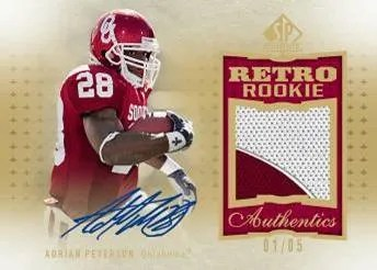2010 UD SP Authentic Adrian Peterson Patch Autograph