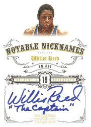 2009/10 Panini National Treasures Willis Reed Nickname Autograph Card