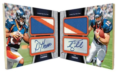 2010 Topps Unrivaled Jumbo Patches Tim Tebow Demaryius Thomas Dual Auto