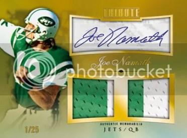 2010 Topps Tribute Joe Namath Dual Jersey Relic Autograph Card