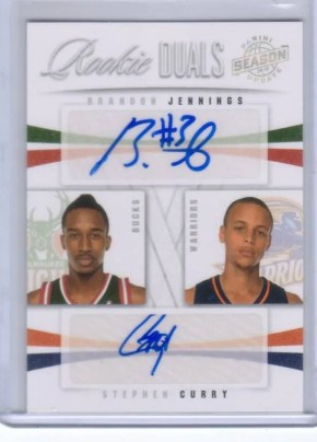 09/10 Panini Season Update Rookie Dual Autograph Brandon Jennings Stephen Curry