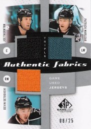 10-11 SP GAME USED TRIPLE JERSEY SAN JOSE SHARKS /25