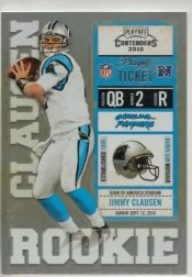 2010 Playoff Contenders Jimmy Clausen No Autograph RC Ticket #/99 Parallel