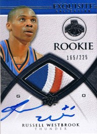 2008/09 Upper Deck Exquisite Russell Westbrook Autograph Jersey Rookie RC Card