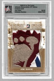 2010/11 In The Game ITG Ultimate Emblem Joe Sakic