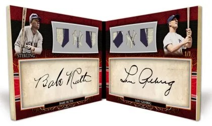 2010 Topps Sterling Pairs Babe Ruth Lou Gerhig Dual Cut Auto Triple Relic