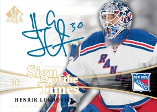 2011-12 Upper Deck SP Authentic Hockey Sign of the Times Henrick Lundqvist Autograph