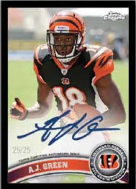 2011 Topps Chrome Football A.J. Green Autograph Black RC Parallel Card