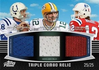 2011 Topps Prime Triple Combo Relic Peyton Manning, Aaron Rodgers, Tom Brady Jersey Card