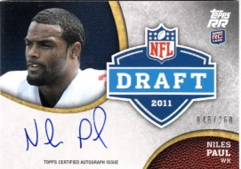 2011 Topps Rising Rookies Niles Paul Autograph Rookie