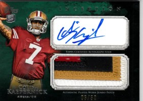 2011 Topps Inception Colin Kaepernick Jumbo Patch Autograph RC