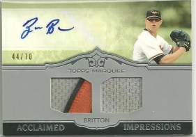 2011 Topps Marquee Zach Britton Acclaimed Impressions Dual Auto