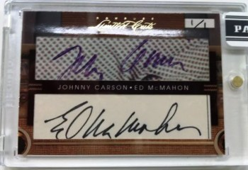 2011 Donruss Limited Cuts Johnny Carson & Ed McMahon Dual Cut Autograph Card