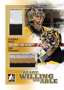 2010/11 ITG Between the pipes Ready Willing and Able Tuukka Rask - Ryan Miller Dual Jersey Card