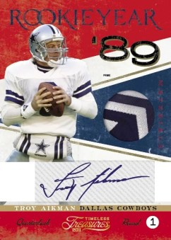 2011 Timeless Treasures Troy Aikman Rookie Year Prime Jersey Autograph Card