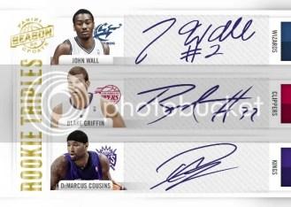 2010-11 Panini Season Update John Wall Blake Griffin DeMarcus Cousins Triple Autograph Card