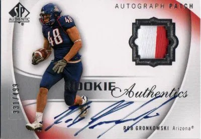 2010 Upper Deck SP Authentic Patch Autograph Rob Gronkowski RC Card