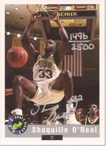 1992 Classic Draft Picks Shaquille O'Neal Autograph #/2500