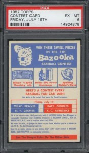 1957 Topps July 19th Contest Card Graded PSA 6