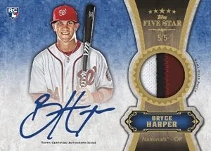 2012 Topps Fives Star Bryce Harper Autograph Relic Card #5/5
