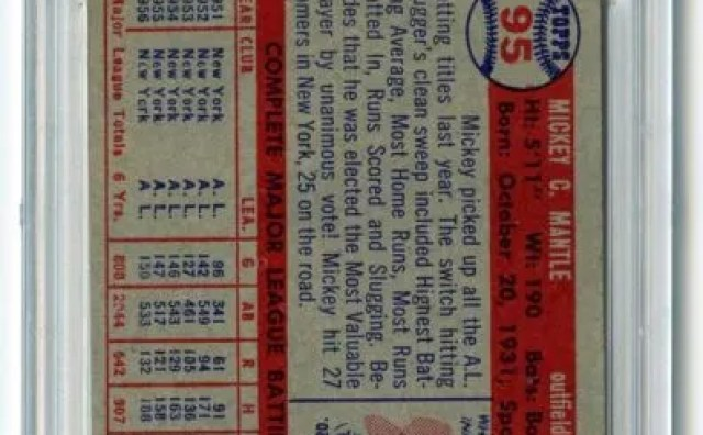 1957 Topps Mickey Mantle #95 Back Graded PSA 7