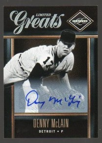 2011 Panini Limited Greats Autograph #3 Denny McLain Card
