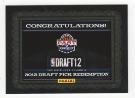 2011-12 Panini Past and Present 2012 NBA Draft Redemption Card