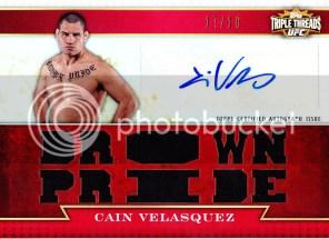 2012 Topps UFC Knockout Cain Velasquez Triple Treads Autograph Relic Card #/18